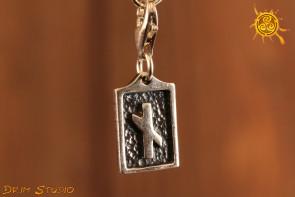 Runa NAUDIZ przywieszka charms srebro - ochrona, cierpliwość, pomysłowość