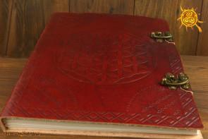 Notatnik skórzany duży kwiat życia - zeszyt do afirmacji, szkicownik, księga