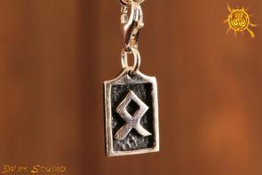 Runa ODALA przywieszka charms srebro - bezpieczeństwo, dom, zakorzenienie