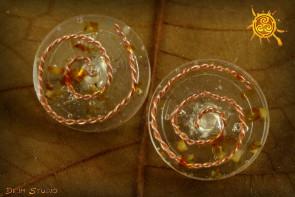 Orgonit kolczyki sztyft srebrny śr. 2cm Bursztyn