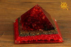 Orgonit piramidka Cheopsa ok. 9x9x6cm wzór J5 - przetwarzanie negatywnej energii w pozytywną, zdrowie