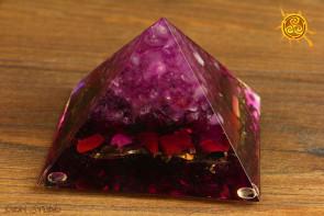 Orgonit piramidka Cheopsa 9x9x6cm wzór E2 - przetwarzanie negatywnej energii w pozytywną, zdrowie