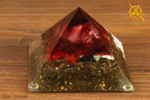 Orgonit piramidka Cheopsa 9x9x7cm wzór F3 - przetwarzanie negatywnej energii w pozytywną, zdrowie