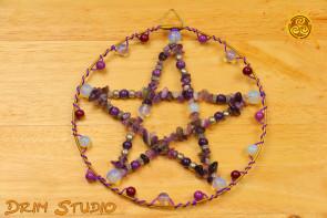 Pentagram w kole fioletowy - ochrona, zdrowie, bezpieczeństwo, harmonia