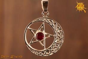 Pentagram z rubinem WISIOR srebro - chroni przed siłami zła, zawiścią, zazdrością