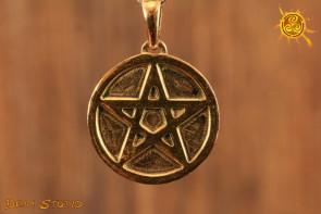 Pentagram pełny WISIOR pozłacany - ochrona przed negatywną energią, zdrowie
