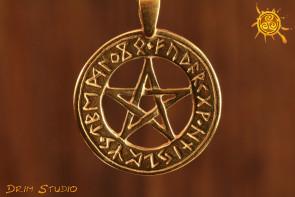 Pentagram Runiczny WISIOR pozłacany - ochrona na każdej płaszczyźnie przed różnymi bytami
