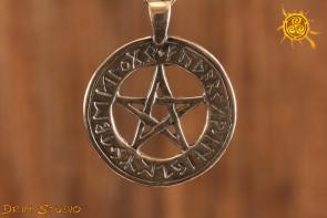 Pentagram Runiczny WISIOR srebro - ochrona na płaszczyźnie duchowej i emocjonalnej