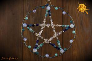 Pentagram w kole niebieski - ochrona, zdrowie, bezpieczeństwo, harmonia
