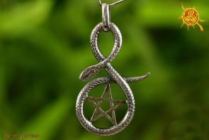 Pentagram z wężem WISIOR srebro - tarcza ochronna przed najgroźniejszą magią