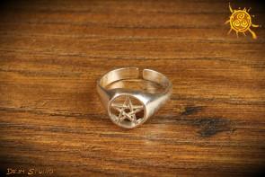 Pierścionek Pierścień Pentagram rozmiar 24 ażur  - ochrona energetyczna, zdrowie
