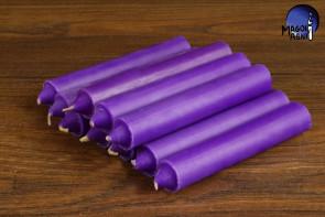 Purpurowa świeca KOMPLET 10 świec 10x1,8cm - wzmacnia aurę i działanie egzorcyzmów, oczyszcza, chroni