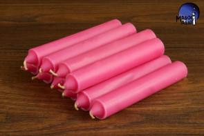 Różowa świeca KOMPLET 10 świec 10x1,8cm - miłość, przyjaźń, leczenie traum