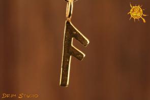 Runa ANSUZ pozłacana - inspiracja, zdany egzamin, porozumienie, amulet dla mówców i nauczycieli