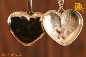 Serce z runą Gebo WISIOR srebro - talizman na miłość dwustronny