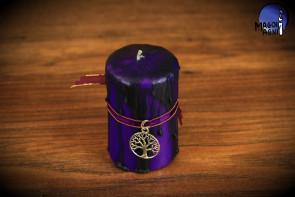 Purpurowa Świeca z elementami czarnego rozmiar XL - zawieszka Drzewo Życia - ochrona, intuicja