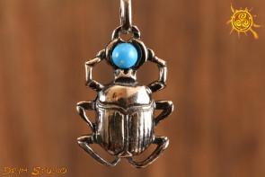 Skarabeusz z Turkusem WISIOR srebro - symbol odrodzenia po śmierci, adaptowanie się do zmian