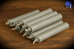 Szara świeca KOMPLET 10 świec 10x1,8cm - przywołuje szczęście, usuwa negatywne wpływy, neutralizuje trudne sytuacje