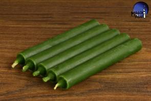 Zielona świeca KOMPLET 5 świec 9x1,2cm - uzdrowienie, spokój, pieniądze, płodność
