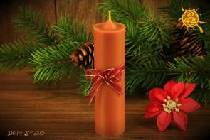Brązowa Świeca z naturalnego wosku pszczelego o zapachu PIERNIKA - świeca piernikowa