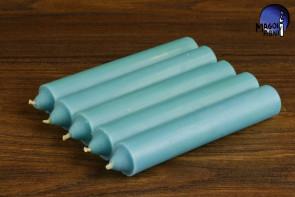 Błękitna świeca KOMPLET 5 świec 10x1,8cm - dobra komunikacja, pozbycie się nałogów, wierność, dobry sen