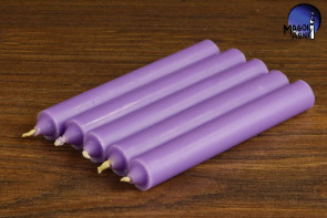 Fioletowa świeca KOMPLET 5 świec 9x1,2cm - zdejmowanie uroku, rozwój duchowy, uspokojenie emocji