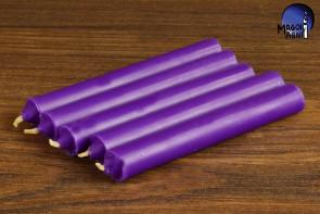 Purpurowa świeca KOMPLET 5 świec 9x1,2cm - wzmacnia aurę i działanie egzorcyzmów, oczyszcza, chroni