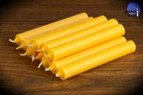 Żółta świeca KOMPLET 10 świec 9x1,2 - optymizm, kreatywność, dobre finanse, zdany egzamin