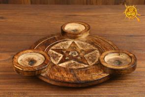 Świecznik na tealighty drewniany PENTAGRAM - ochrona domu, miłość, zrozumienie