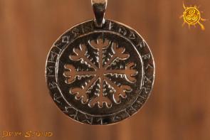 Tarcza Algizowa WISIOR srebro - chroni przed urokami, otwiera na duchowe przewodnictwo