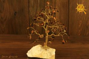 Drzewko szczęścia Tygrysie Oko 100 kamieni naturalnych - moc sukces, pewność siebie