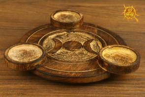 Świecznik na tealighty drewniany Potrójna Bogini - ochrona domu, miłość, zrozumienie