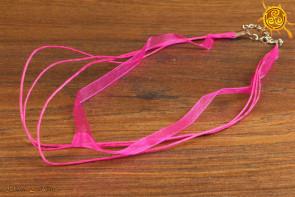 Naszyjnik sznurkowy poczwórny RÓŻOWY z zapięciem na amulet czy talizman ok. 43-48cm