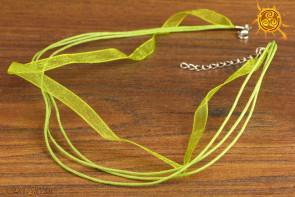 Naszyjnik sznurkowy poczwórny ZIELONY z zapięciem na amulet czy talizman ok. 43-48cm