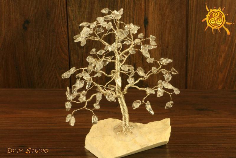 Drzewko szczęścia Kryształ Górski 100 kamieni naturalnych - odpromiennik, zdrowie, ochrona