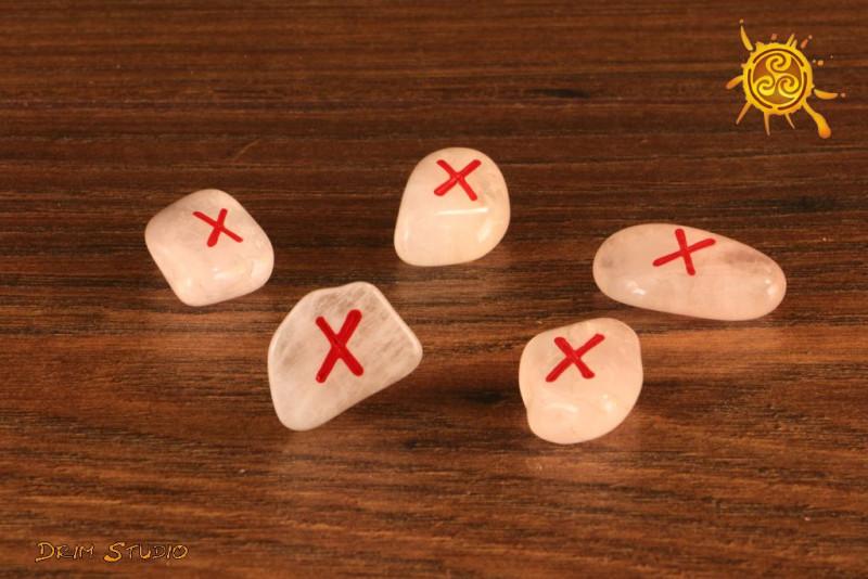 Runa Gebo kamień Kwarc Różowy - miłość, partnerswo, umocnienie więzów, piękno