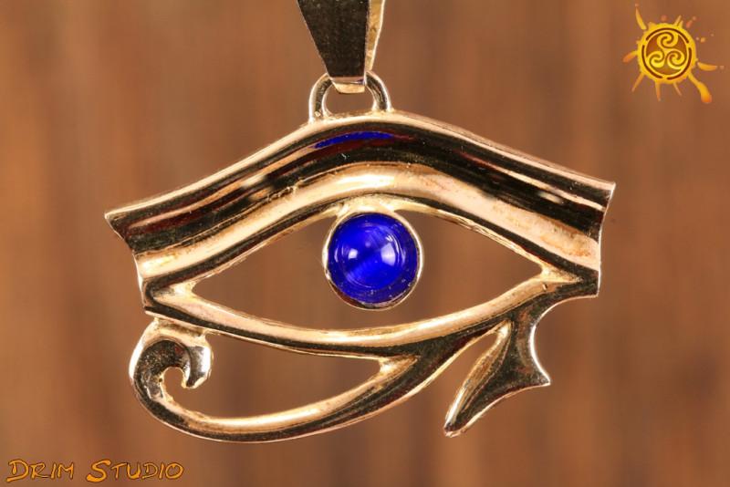 Oko Horusa z szafirowym oczkiem - ochrona przed zazdrością, złorzeczeniem, odnowa sił witalnych