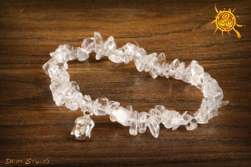 Kryształ Górski bransoletka ochronna przywieszka Budda - siła życiowa, radość, spełnienie, ochrona