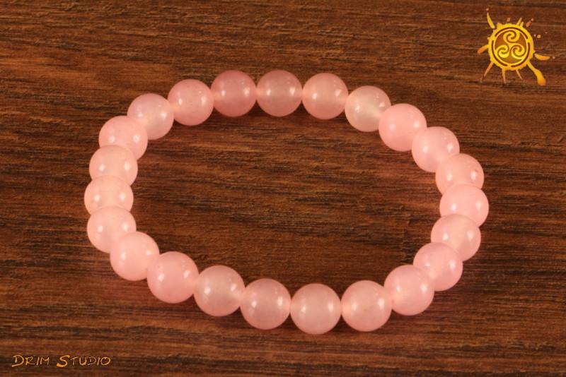 Kwarc Różowy bransoletka KULKI 8mm - czakra serca, miłość, wrażliwość