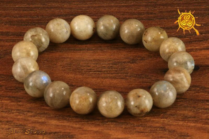 Labradoryt bransoletka KULKI 12mm - uszczelnia aurę, chroni przed wampiryzmem, kamień szczęścia