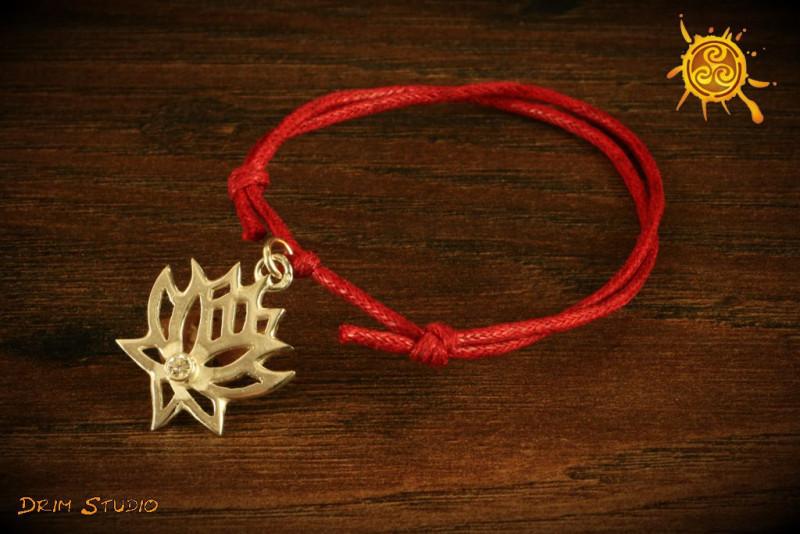 Bransoletka sznurkowa Lotos  srebro - szczęście, odrodzenie, radość i partnerstwo