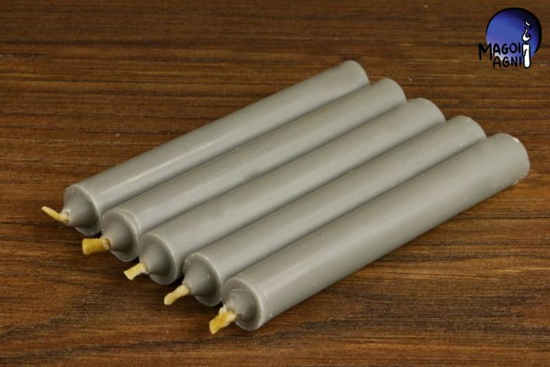 Szara świeca KOMPLET 5 świec 9x1,2cm - przywołuje szczęście, usuwa negatywne wpływy, neutralizuje trudne sytuacje