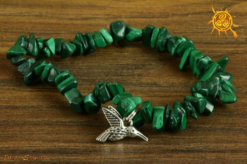 Malachit bransoletka ochronna przywieszka Koliber - radość życia, ochrona, miłość