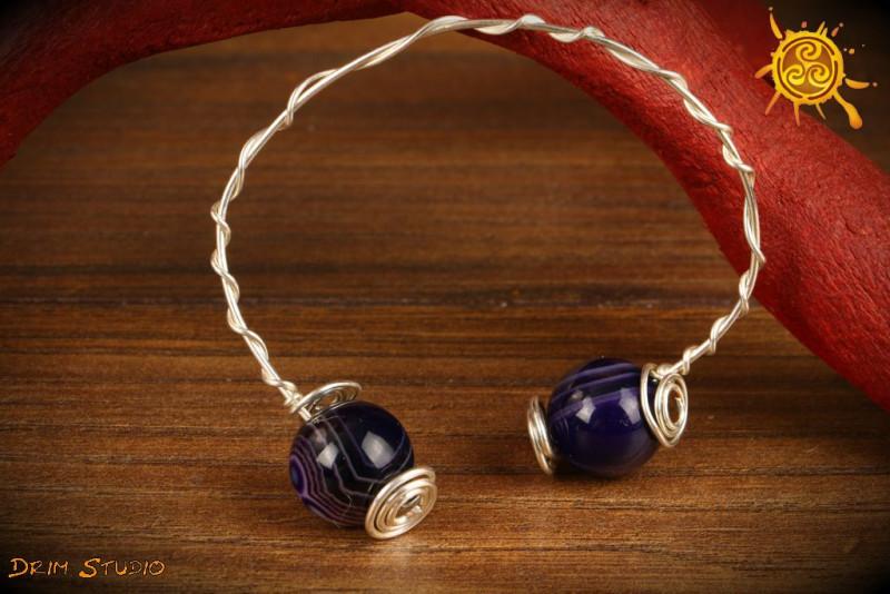 Bransoletka Agat Fioletowy miedź posrebrzana biżuteria autorska