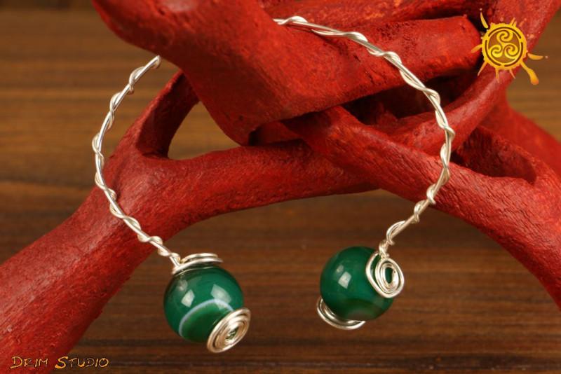 Bransoletka Agat Zielony miedź posrebrzana biżuteria autorska