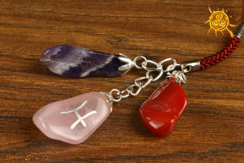 Kamienie Zodiakalne znak zodiaku RYBY brelok - Kwarc Różowy, Ametyst, Jaspis Czerwony