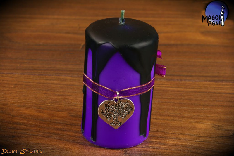 Purpurowa Świeca z elementami czarnego rozmiar XL - zawieszka Drzewo Życia w sercu  - ochrona, intuicja