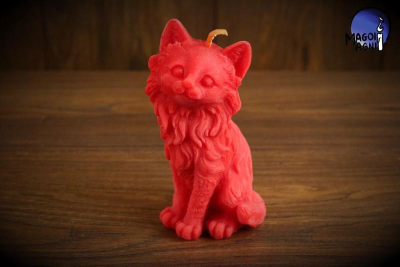 Czerwona Świeca Kot - magia miłości, ochrona związku