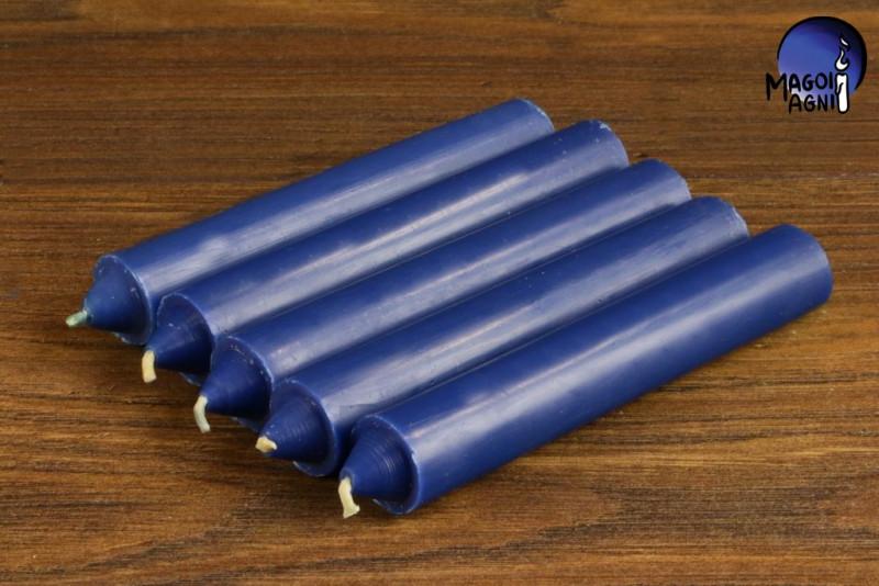 Niebieska świeca KOMPLET 5 świec 10x1,8cm - pozbycie się nałogów, wierność, harmonia w domu
