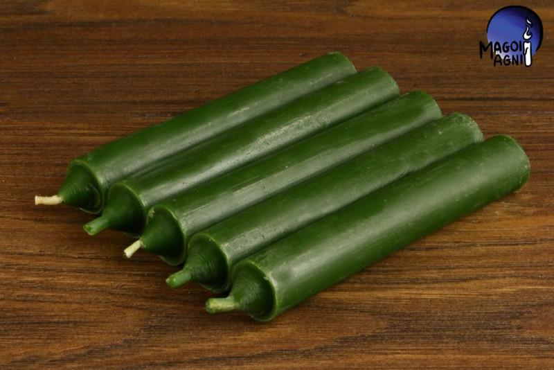 Zielona świeca KOMPLET 5 świec 10x1,8cm - uzdrowienie, spokój, pieniądze, płodność